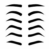 Female Eyebrows In Different Shapes. Female Eyes With Different Forms Of Eyebrows Vector Eyebrows Re poster