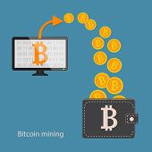 Flat Modern Design Concept Of Cryptocurrency Technology, Bitcoin Making, Bitcoin Mining, E-wallet. C poster