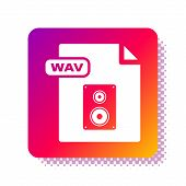 White Wav File Document. Download Wav Button Icon Isolated On White Background. Wav Waveform Audio F poster