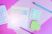 Handwriting Text Writing Storytelling. Concept Meaning Activity Writing Stories For Publishing Them  poster