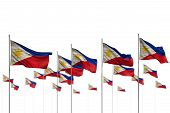 Beautiful Philippines Isolated Flags Placed In Row With Soft Focus And Place For Your Content - Any  poster