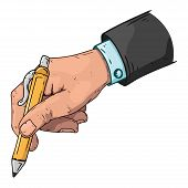 Male Hand Holds A Pen. Vector Illustration Hand Of A Businessman Holds A Pen. Hand Drawn  Male Hand  poster