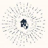 Grey House Under Protection Icon Isolated On Beige Background. Home And Shield. Protection, Safety,  poster