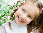 stock photo of cute little girl  - The beautiful little girl with bush blossoming tree - JPG