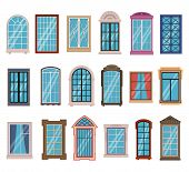 Flat Windows Frames. Colorful Various Wooden And Plastic Window Frames With Window Sills, Exterior A poster