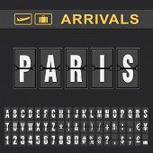 Analog Airport Flip Board Displays Flight Info Of Arrivals Destination In Paris poster