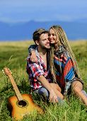 Enjoying Each Other. Family Hike. Boyfriend And Girlfriend With Guitar In Mountains. Summer Hike. Br poster