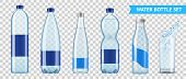 Realistic Mineral Water Bottle Set Of Six Isolated Images Of Plastic Bottles For Liquid On Transpare poster