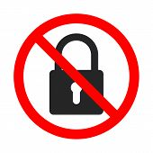 No Lock Sign On White Background. Lock Is Forbidden. No Lock Icon. Red Prohibition Sign Of Lock. Vec poster