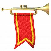 Trumpet With Red Flag 3d Render Illustration Isolated On White Background poster