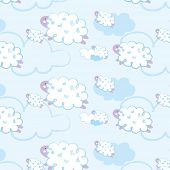 image of counting sheep  - Seamless pattern  - JPG
