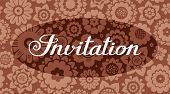 Invitation, Floral Background, Brown, Vector, English. Invitation To The Event. On A Floral Backgrou poster