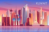 Kuwait City Skyline. Modern Arab State Panoramic Background With Skyscrapers And Towers Stand In Per poster