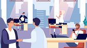 Office Routine. Happy People At Work. Greeting New Employee, Office Characters Vector Illustration.  poster