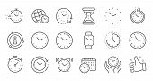 Time And Clock Line Icons. Timer, Alarm And Smartwatch. Time Management, 24 Hour Clock, Deadline Ala poster