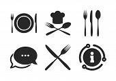 Chief Hat Sign. Chat, Info Sign. Plate Dish With Forks And Knifes Icons. Crosswise Cutlery Symbol. D poster
