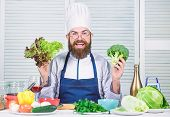 I Choose Only Healthy Ingredients. Man Cook Hat And Apron Hold Broccoli. Organic Vegetables. Healthy poster