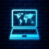 Glowing Neon Laptop With World Map On Screen Icon Isolated On Brick Wall Background. World Map Geogr poster