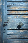 Weathered Wood Door With Shriveled Blue Paint And Door Handles. Vertical Image Of A Rustic Aged Wood poster
