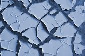 Light Blue Painted Old Exterior Wall Closeup With Cracked, Scratched And Peeling Paint, Abstract Aba poster
