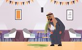 Sad Arab Man Vomiting Nausea Stomach Ache Food Or Alcohol Poisoning Digestive Problem Concept Arabia poster
