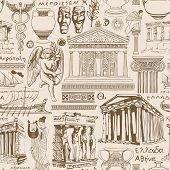 Vector Seamless Pattern On The Theme Of Ancient Greece. Repeating Background, Wallpaper, Wrapping Pa poster