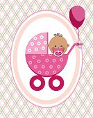 Baby, Girl, African, Postcard, Pink Lines, Rhombuses, Vector. A Little Girl In A Pink Stroller. A Pi poster