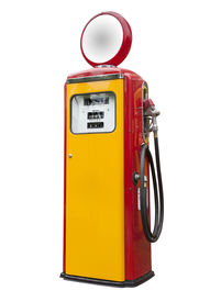stock photo of fuel pump  - antique gas pump from the 1950s in yellow and red - JPG