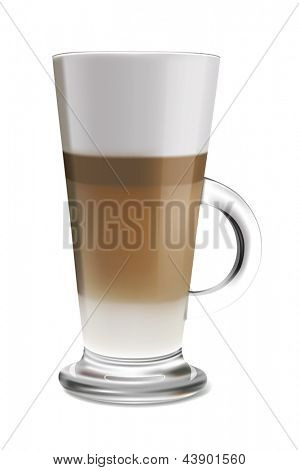 Vector illustration of coffee latte in glass