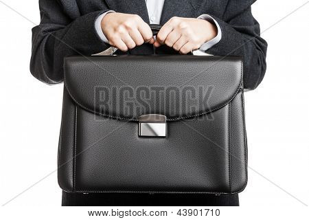 Business man in black suit hand holding briefcase white isolated