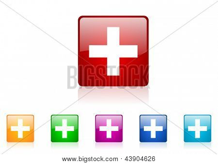 emergency square web glossy icon colorful set