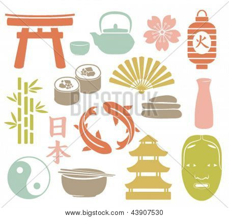 set of colorful asian icons