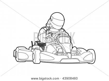 Outline karting on white background