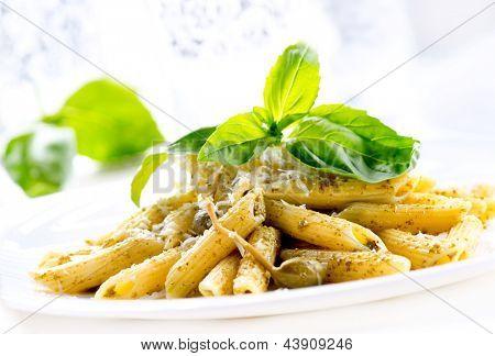 Pasta. Penne Pasta with Pesto Sauce. Italian Cuisine