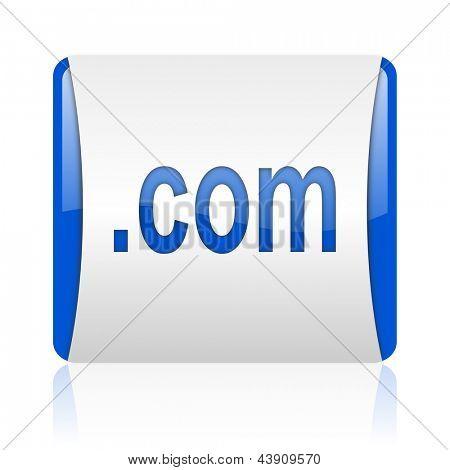 com blue square web glossy icon