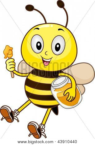 Mascot Illustration of a Bee holding a honey dipper and a jar of honey