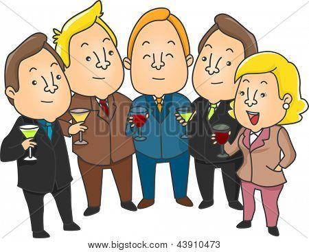 Illustration of Business People having a toast