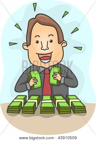 Illustration of a Happy Businessman with Bundles of Money