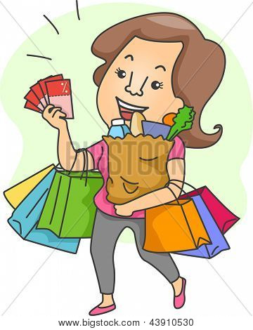 Illustration of a Woman with Lots of Shopping Bags and Shopping Coupons
