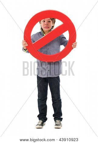 Portrait Of Boy Holding Prohibit Sign Isolated On White Background