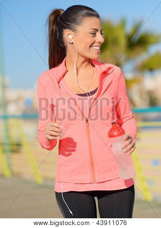 Portrait Of Happy Sporty Woman, Outdoors