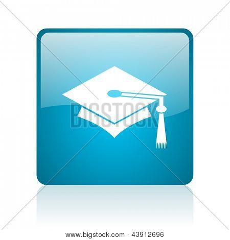 graduation blue square web glossy icon