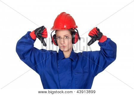 Industrial worker woman with the thumbs down isolated on white background