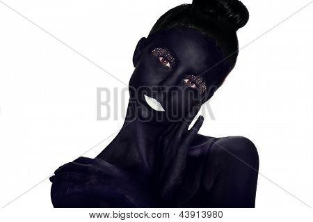 Bodypaint portrait of a beautiful model