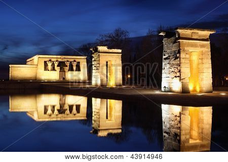 Temple of Debod with illumination. This temple is an ancient Egyptian temple which was rebuilt in Madrid, Spain.