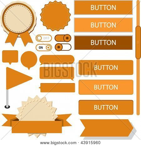 Vector illustration of orange plain web elements. Flat UI.