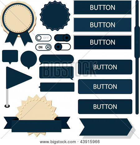 Vector illustration of dark blue plain web elements. Flat UI.