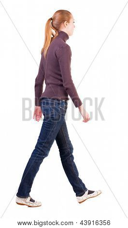 back view walking  woman. beautiful blonde girl in motion.  backside view of person.  Rear view people collection. Isolated over white background. long-haired blonde sad sigh moves from left to right