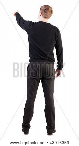 Back view pointing young business men. Rear view people collection.  backside view of person.  Isolated over white background. office worker saw something interesting and points his finger at him