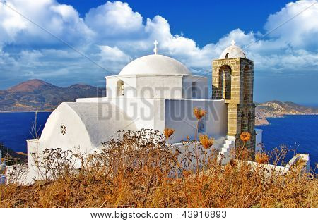 Greece. Monastery on hill top. Milos island